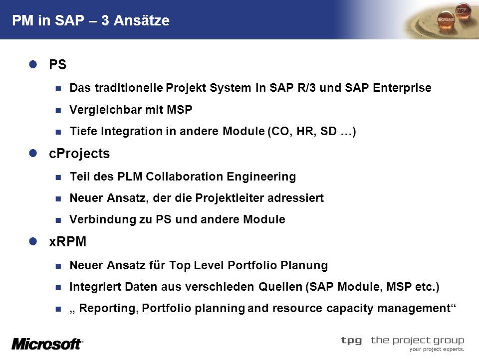 TM PM in SAP – 3 Ansätze PS Das traditionelle Projekt System in SAP R/3 und SAP Enterprise Vergleichbar mit MSP Tiefe Integration in andere Module (CO