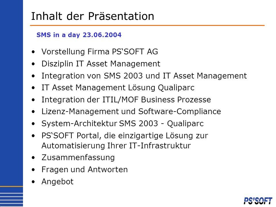 Vorstellung Firma PSSOFT AG Disziplin IT Asset Management Integration von SMS 2003 und IT Asset Management IT Asset Management Lösung Qualiparc Integr