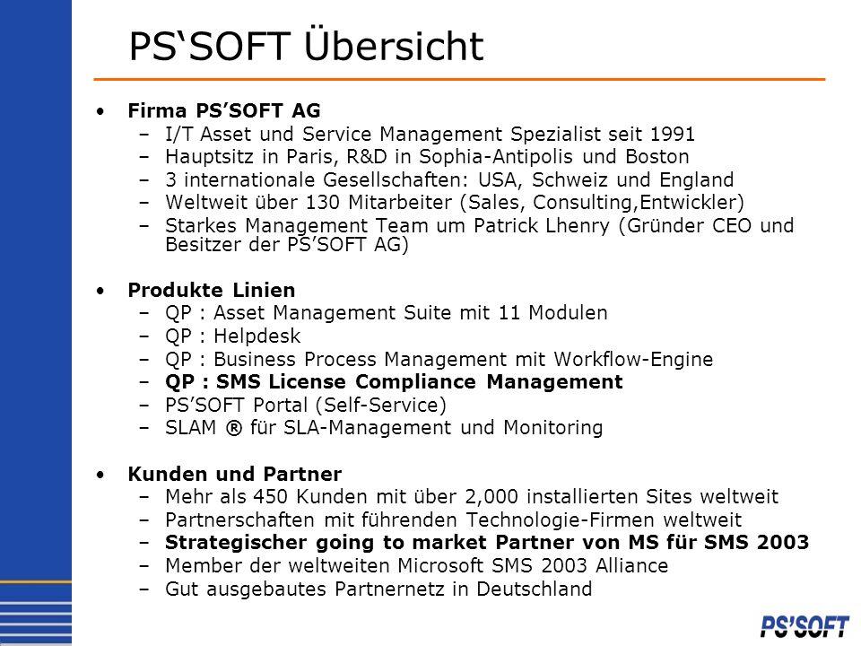 Firma PSSOFT AG –I/T Asset und Service Management Spezialist seit 1991 –Hauptsitz in Paris, R&D in Sophia-Antipolis und Boston –3 internationale Gesel