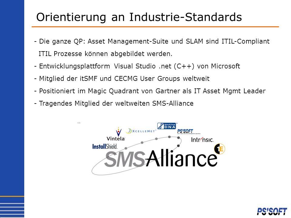 Orientierung an Industrie-Standards - Die ganze QP: Asset Management-Suite und SLAM sind ITIL-Compliant ITIL Prozesse können abgebildet werden. - Entw