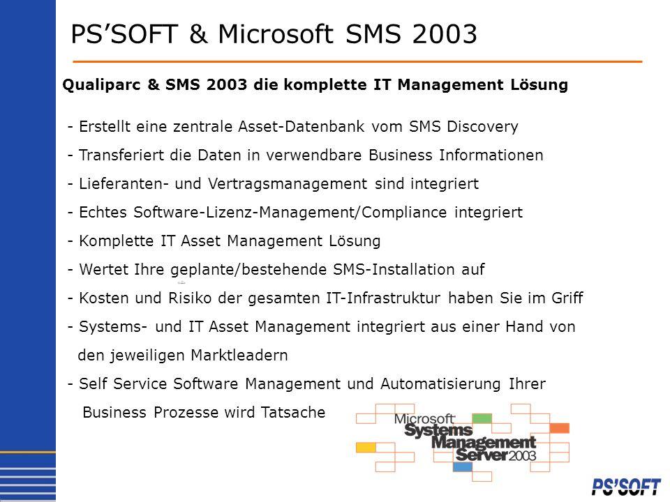 PSSOFT & Microsoft SMS 2003 Qualiparc & SMS 2003 die komplette IT Management Lösung - Erstellt eine zentrale Asset-Datenbank vom SMS Discovery - Trans