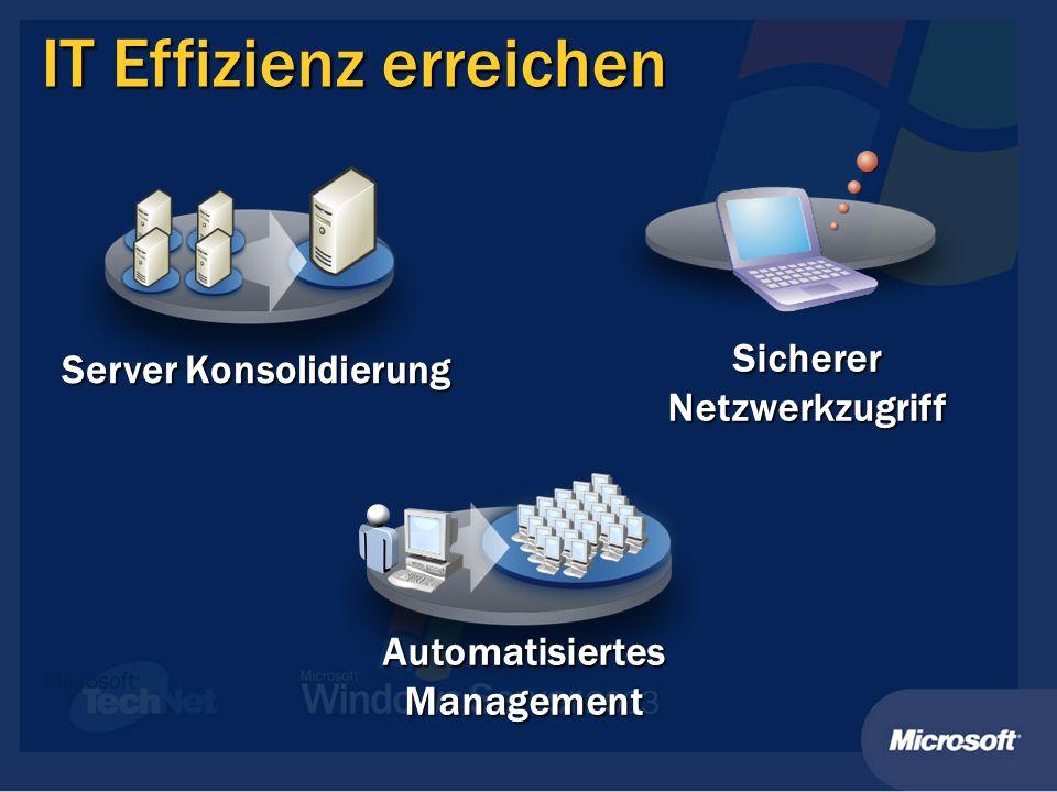 IT Effizienz erreichen Sicherer Netzwerkzugriff Server Konsolidierung Automatisiertes Management