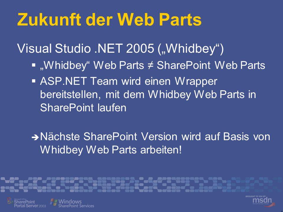 Zukunft der Web Parts Visual Studio.NET 2005 (Whidbey) Whidbey Web Parts SharePoint Web Parts ASP.NET Team wird einen Wrapper bereitstellen, mit dem W