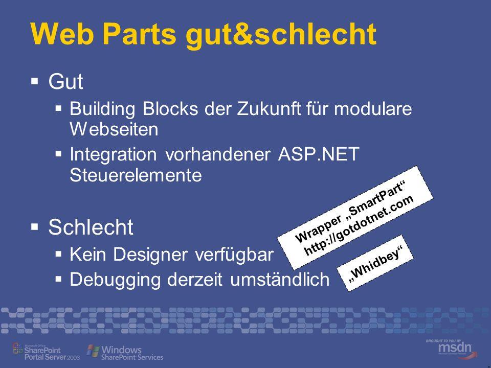 Web Parts gut&schlecht Gut Building Blocks der Zukunft für modulare Webseiten Integration vorhandener ASP.NET Steuerelemente Schlecht Kein Designer ve