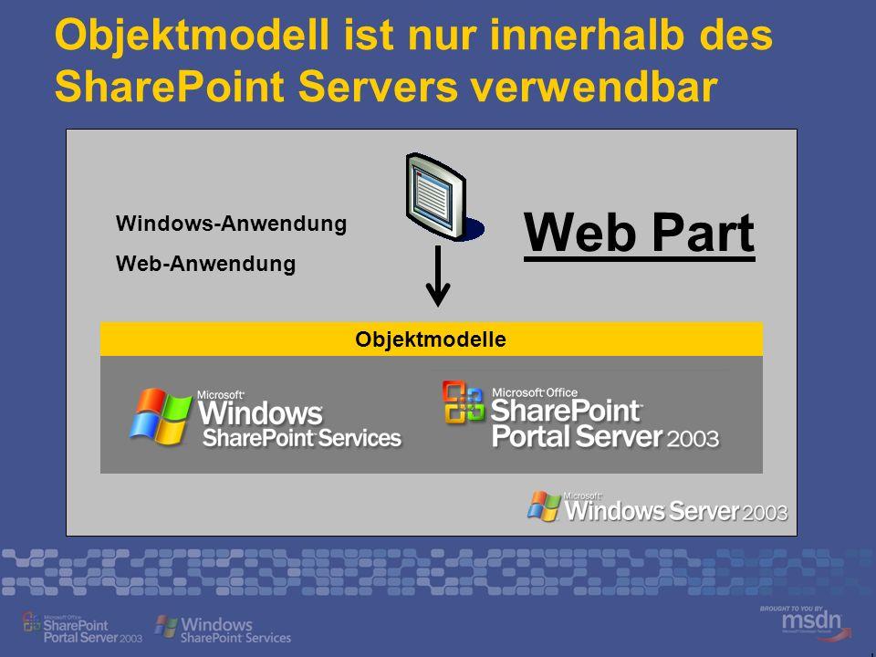 Objektmodell ist nur innerhalb des SharePoint Servers verwendbar Objektmodelle Windows-Anwendung Web-Anwendung Web Part