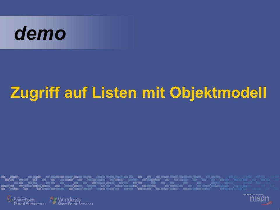 demo Zugriff auf Listen mit Objektmodell
