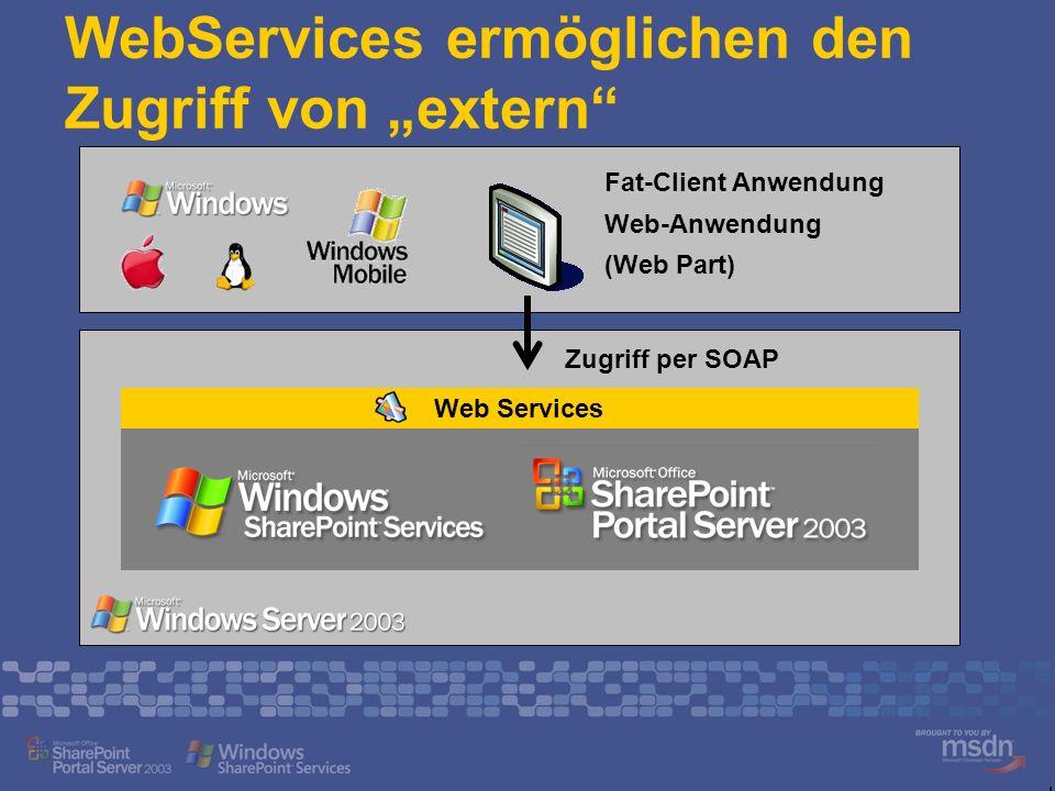 WebServices ermöglichen den Zugriff von extern Web Services Fat-Client Anwendung Web-Anwendung (Web Part) Zugriff per SOAP