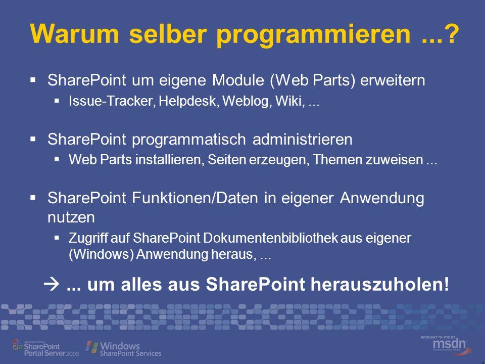 Warum selber programmieren...? SharePoint um eigene Module (Web Parts) erweitern Issue-Tracker, Helpdesk, Weblog, Wiki,... SharePoint programmatisch a