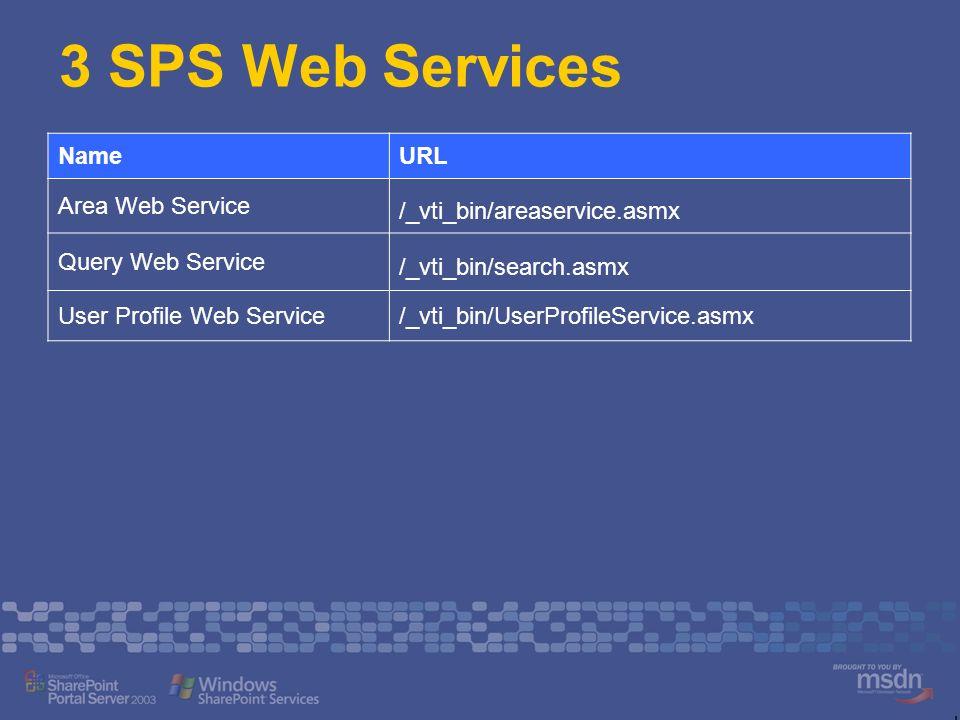 3 SPS Web Services NameURL Area Web Service /_vti_bin/areaservice.asmx Query Web Service /_vti_bin/search.asmx User Profile Web Service/_vti_bin/UserP