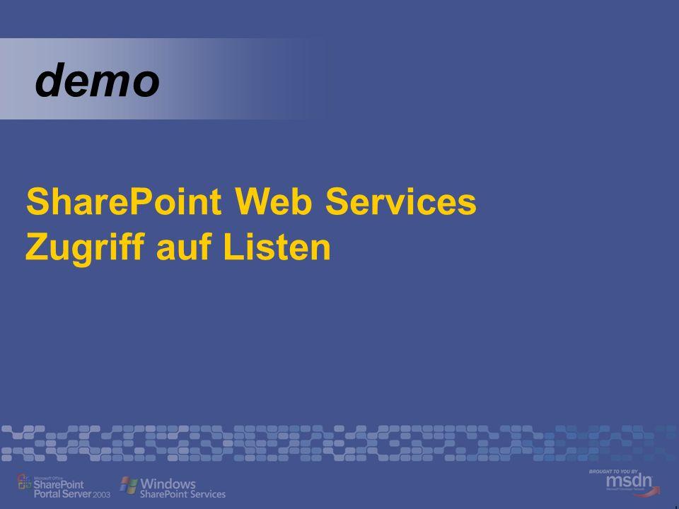 demo SharePoint Web Services Zugriff auf Listen