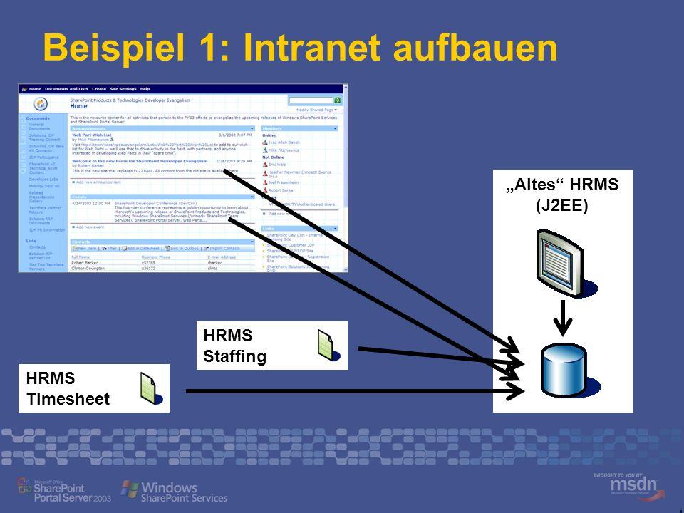 Altes HRMS (J2EE) Beispiel 1: Intranet aufbauen HRMS Timesheet HRMS Staffing