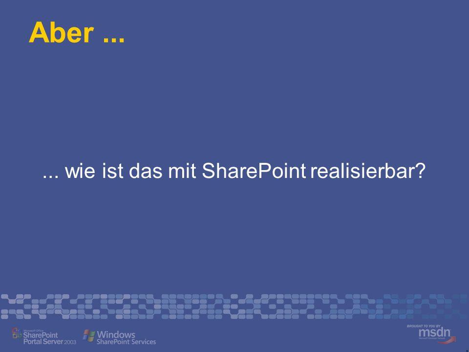 Aber...... wie ist das mit SharePoint realisierbar?