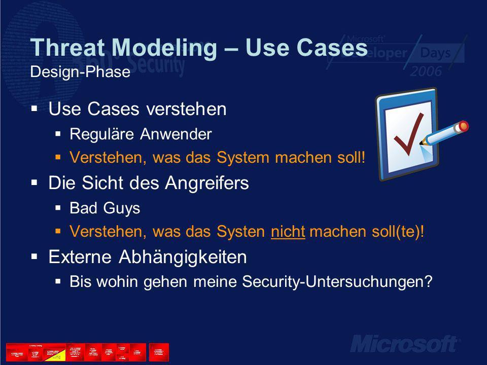 Threat Modeling – Use Cases Design-Phase Use Cases verstehen Reguläre Anwender Verstehen, was das System machen soll.
