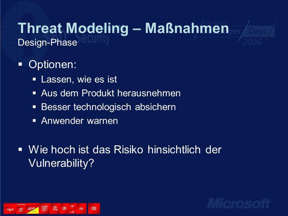 Threat Modeling – Maßnahmen Design-Phase Optionen: Lassen, wie es ist Aus dem Produkt herausnehmen Besser technologisch absichern Anwender warnen Wie hoch ist das Risiko hinsichtlich der Vulnerability.