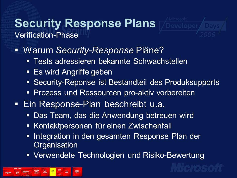 Security Response Plans Verification-Phase Warum Security-Response Pläne? Tests adressieren bekannte Schwachstellen Es wird Angriffe geben Security-Re