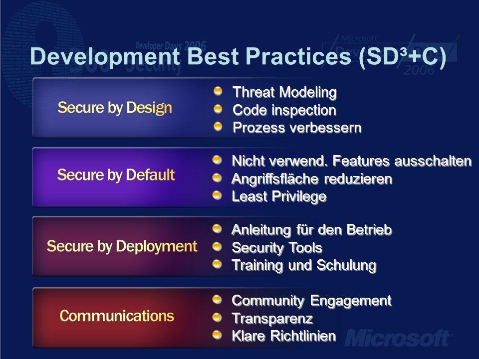 Development Best Practices (SD³+C) Threat Modeling Code inspection Prozess verbessern Nicht verwend.