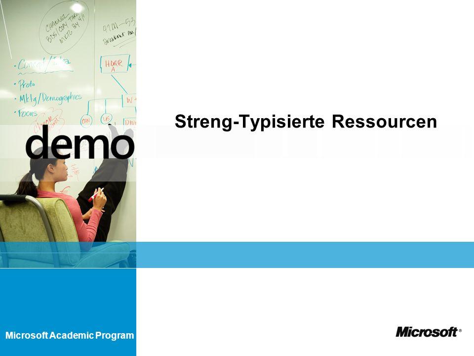 Microsoft Academic Program Streng-Typisierte Ressourcen