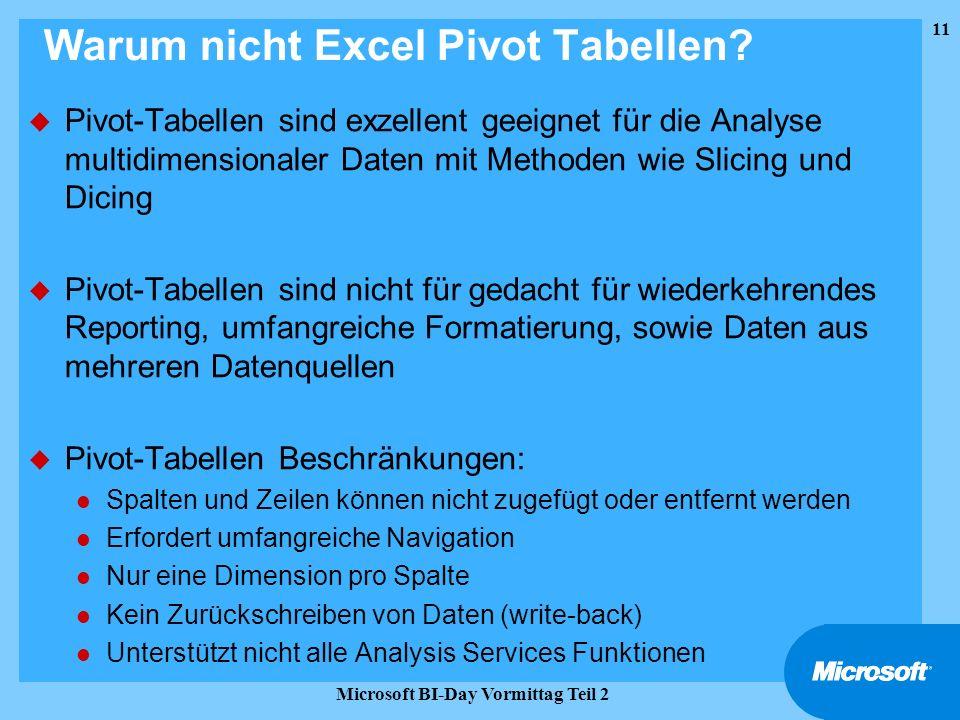 11 Microsoft BI-Day Vormittag Teil 2 Warum nicht Excel Pivot Tabellen? u Pivot-Tabellen sind exzellent geeignet für die Analyse multidimensionaler Dat