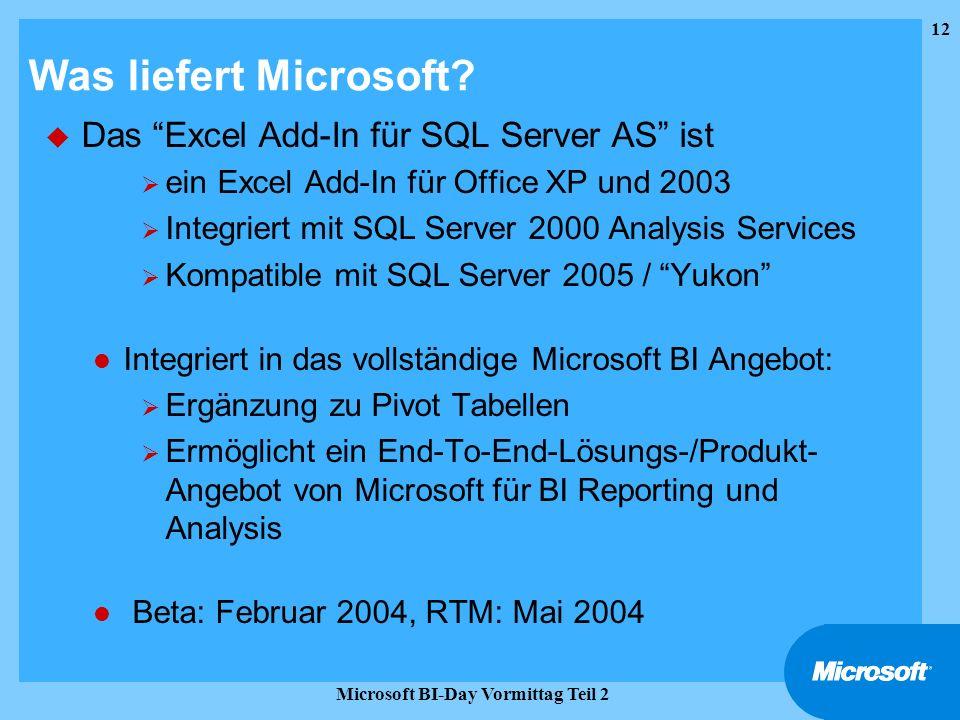 12 Microsoft BI-Day Vormittag Teil 2 Was liefert Microsoft? u Das Excel Add-In für SQL Server AS ist ein Excel Add-In für Office XP und 2003 Integrier