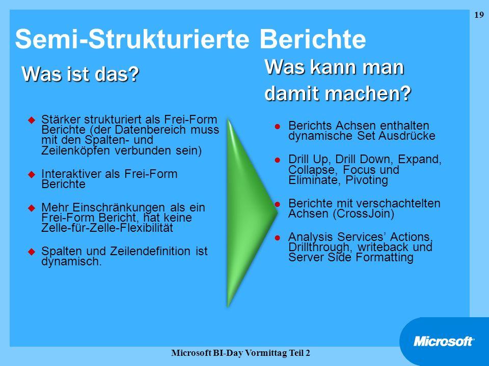 19 Microsoft BI-Day Vormittag Teil 2 Semi-Strukturierte Berichte u Stärker strukturiert als Frei-Form Berichte (der Datenbereich muss mit den Spalten-