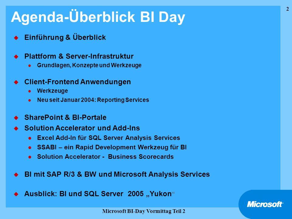 2 Microsoft BI-Day Vormittag Teil 2 Agenda-Überblick BI Day u Einführung & Überblick u Plattform & Server-Infrastruktur l Grundlagen, Konzepte und Wer