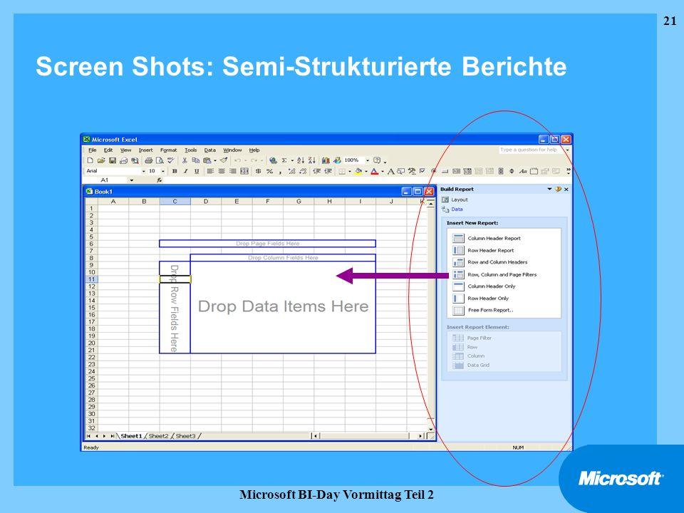 21 Microsoft BI-Day Vormittag Teil 2 Screen Shots: Semi-Strukturierte Berichte