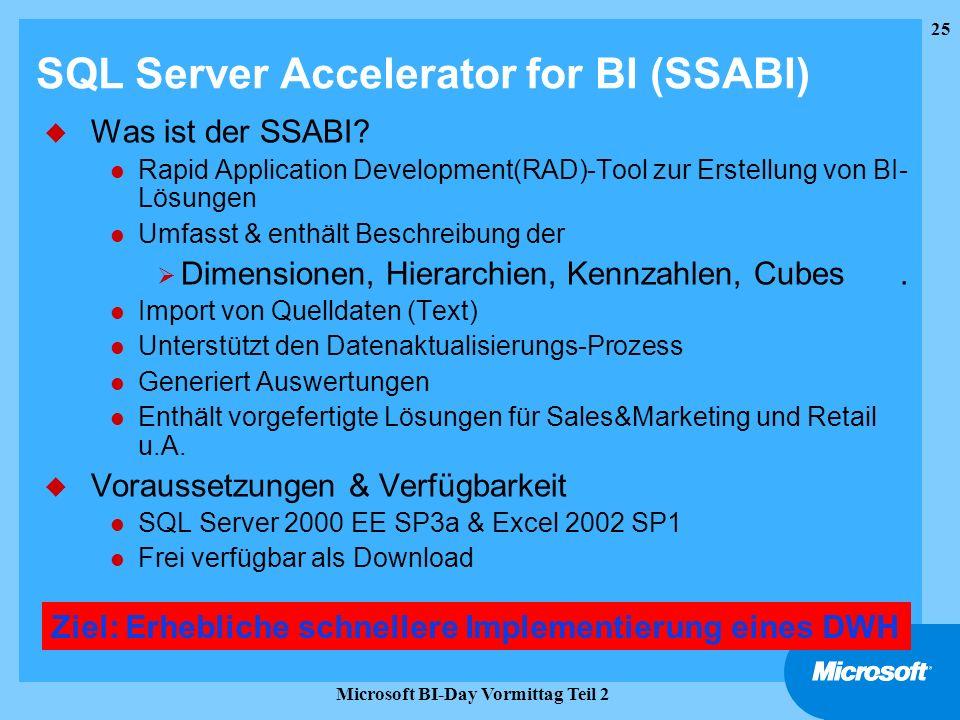 25 Microsoft BI-Day Vormittag Teil 2 SQL Server Accelerator for BI (SSABI) u Was ist der SSABI? l Rapid Application Development(RAD)-Tool zur Erstellu