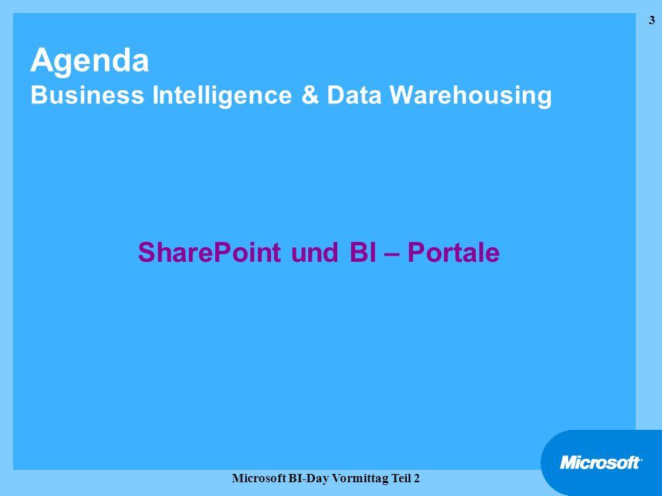3 Microsoft BI-Day Vormittag Teil 2 Agenda Business Intelligence & Data Warehousing SharePoint und BI – Portale