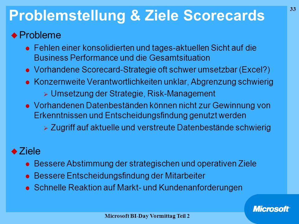 33 Microsoft BI-Day Vormittag Teil 2 Problemstellung & Ziele Scorecards u Probleme l Fehlen einer konsolidierten und tages-aktuellen Sicht auf die Bus
