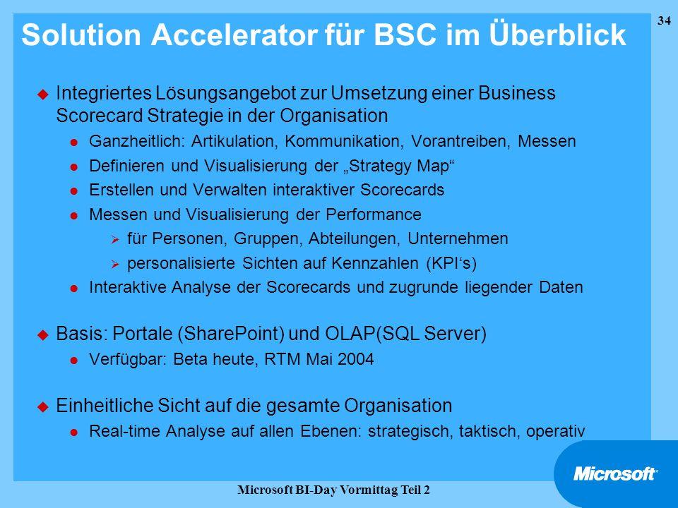 34 Microsoft BI-Day Vormittag Teil 2 Solution Accelerator für BSC im Überblick u Integriertes Lösungsangebot zur Umsetzung einer Business Scorecard St