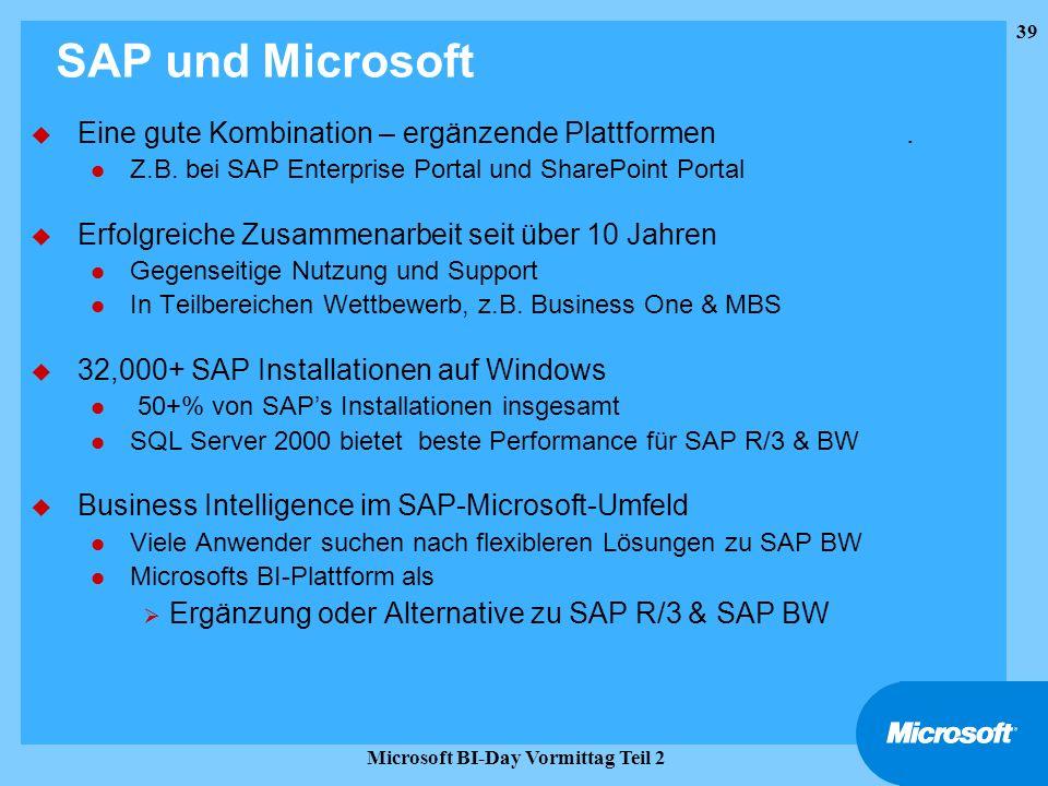 39 Microsoft BI-Day Vormittag Teil 2 SAP und Microsoft u Eine gute Kombination – ergänzende Plattformen. l Z.B. bei SAP Enterprise Portal und SharePoi