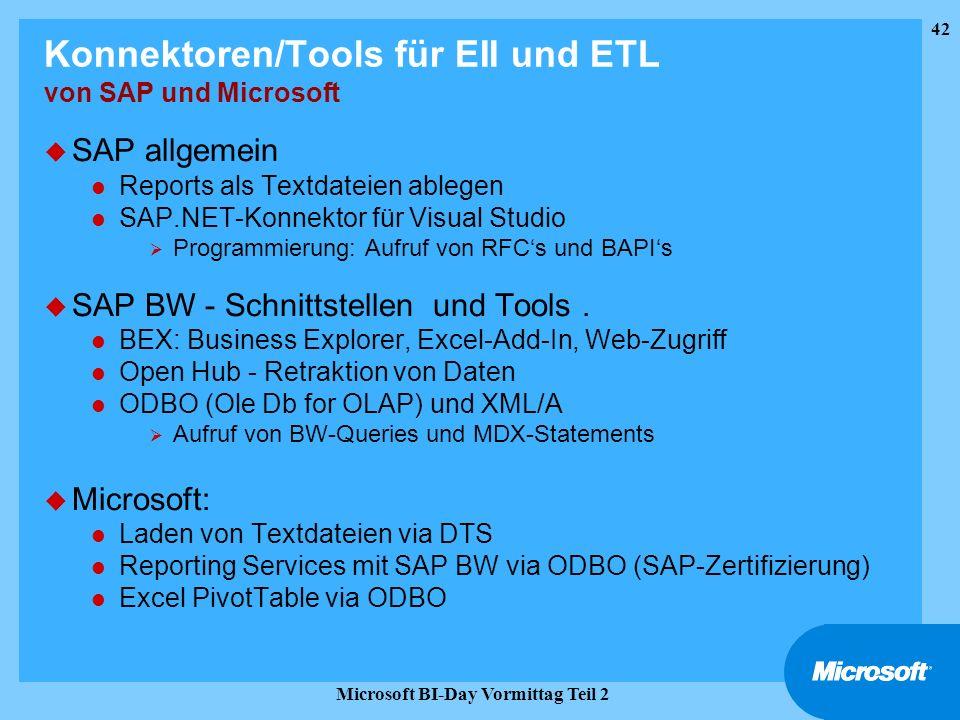 42 Microsoft BI-Day Vormittag Teil 2 Konnektoren/Tools für EII und ETL von SAP und Microsoft u SAP allgemein l Reports als Textdateien ablegen l SAP.N