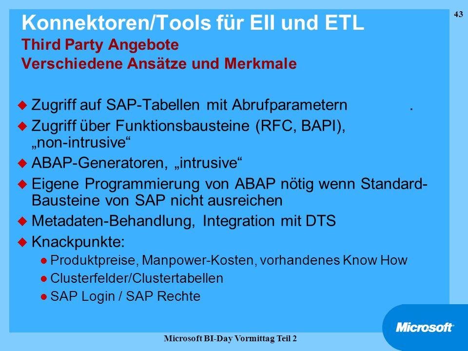 43 Microsoft BI-Day Vormittag Teil 2 Konnektoren/Tools für EII und ETL Third Party Angebote Verschiedene Ansätze und Merkmale u Zugriff auf SAP-Tabell