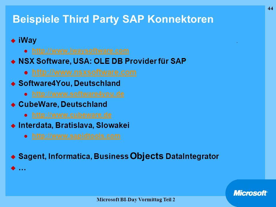 44 Microsoft BI-Day Vormittag Teil 2 Beispiele Third Party SAP Konnektoren u iWay. l http://www.iwaysoftware.com http://www.iwaysoftware.com u NSX Sof