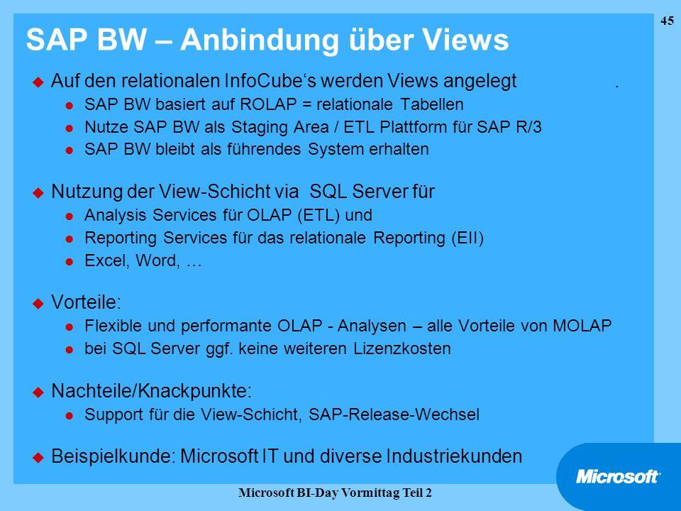 45 Microsoft BI-Day Vormittag Teil 2 SAP BW – Anbindung über Views u Auf den relationalen InfoCubes werden Views angelegt. l SAP BW basiert auf ROLAP