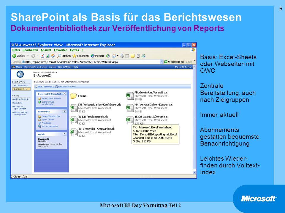 6 Microsoft BI-Day Vormittag Teil 2 Agenda Business Intelligence & Data Warehousing Bereitstellung von BI-Anwendungen BIP BI-Portal mit SharePoint-Integration Reportinglösung mit flexiblem Customizing