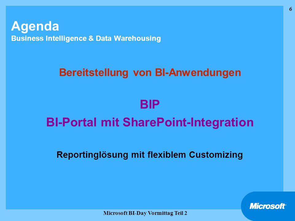 6 Microsoft BI-Day Vormittag Teil 2 Agenda Business Intelligence & Data Warehousing Bereitstellung von BI-Anwendungen BIP BI-Portal mit SharePoint-Int