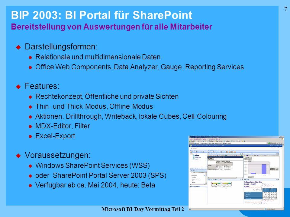 7 Microsoft BI-Day Vormittag Teil 2 BIP 2003: BI Portal für SharePoint Bereitstellung von Auswertungen für alle Mitarbeiter u Darstellungsformen: l Re