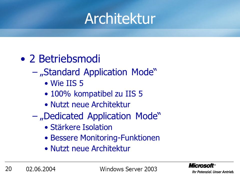 Windows Server Architektur 2 Betriebsmodi –Standard Application Mode Wie IIS 5 100% kompatibel zu IIS 5 Nutzt neue Architektur –Dedicated Application Mode Stärkere Isolation Bessere Monitoring-Funktionen Nutzt neue Architektur