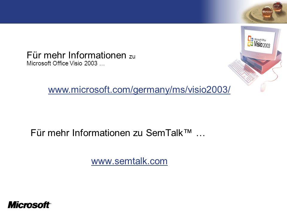 TM Für mehr Informationen zu SemTalk … www.semtalk.com Für mehr Informationen zu Microsoft Office Visio 2003 … www.microsoft.com/germany/ms/visio2003/