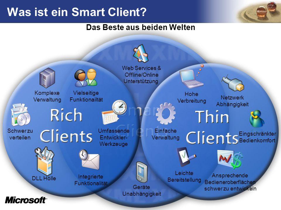 Smart Client-Lösungen Smart Client Anwendungen bieten die Power und Flexibilität von Desktop-Applikationen ohne die Vorteile der leichten Verteilung und Stabilität von browserbasierter Software zu verlieren.