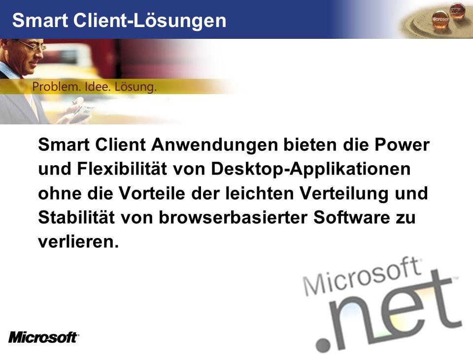 Smart Client-Lösungen Smart Client Anwendungen bieten die Power und Flexibilität von Desktop-Applikationen ohne die Vorteile der leichten Verteilung u