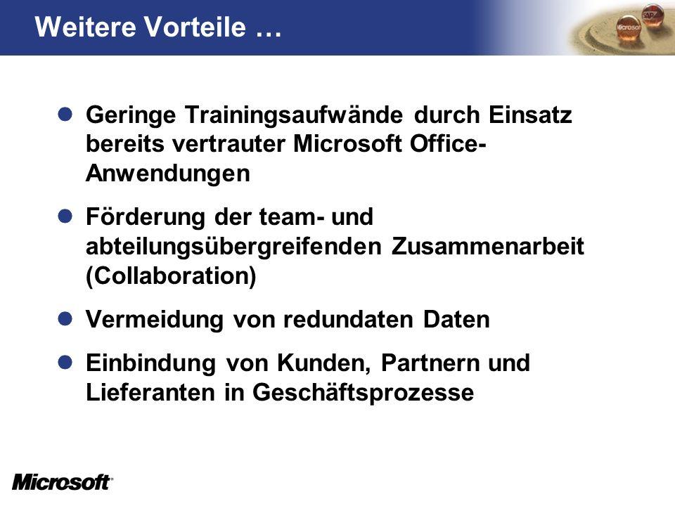 Geringe Trainingsaufwände durch Einsatz bereits vertrauter Microsoft Office- Anwendungen Förderung der team- und abteilungsübergreifenden Zusammenarbe