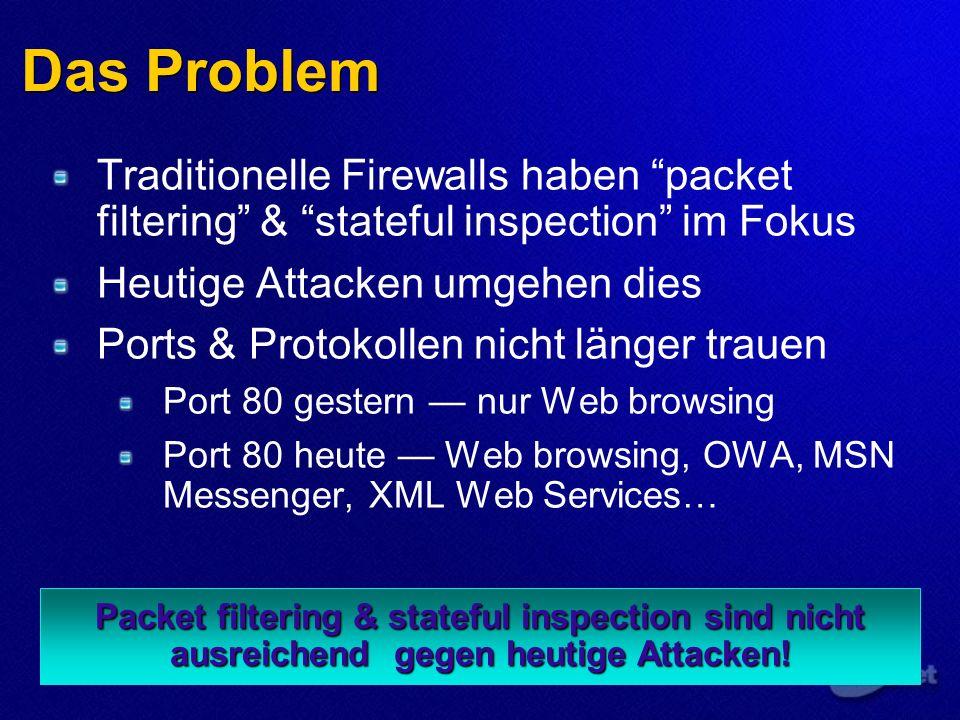 Das Problem Packet filtering & stateful inspection sind nicht ausreichend gegen heutige Attacken.
