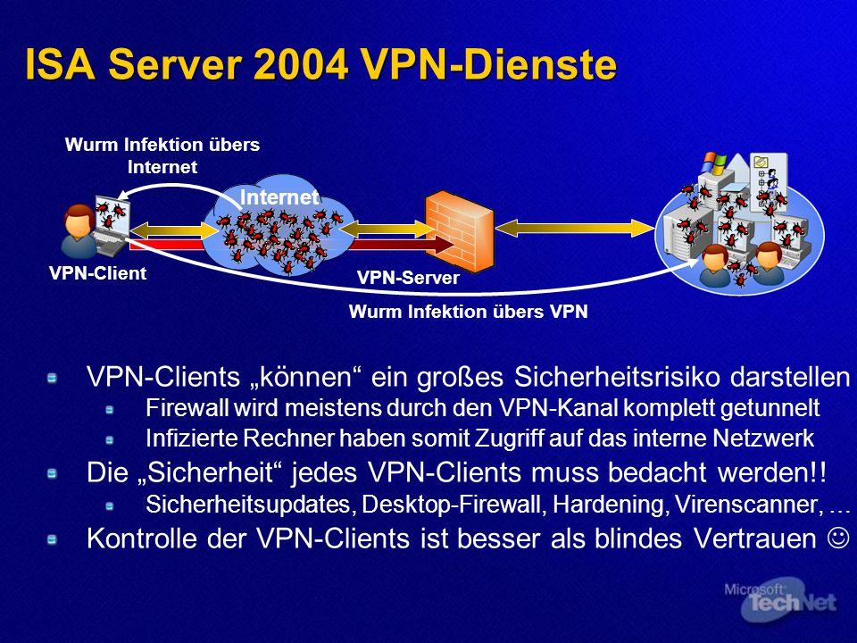 ISA Server 2004 VPN-Dienste VPN-Clients können ein großes Sicherheitsrisiko darstellen Firewall wird meistens durch den VPN-Kanal komplett getunnelt Infizierte Rechner haben somit Zugriff auf das interne Netzwerk Die Sicherheit jedes VPN-Clients muss bedacht werden!.