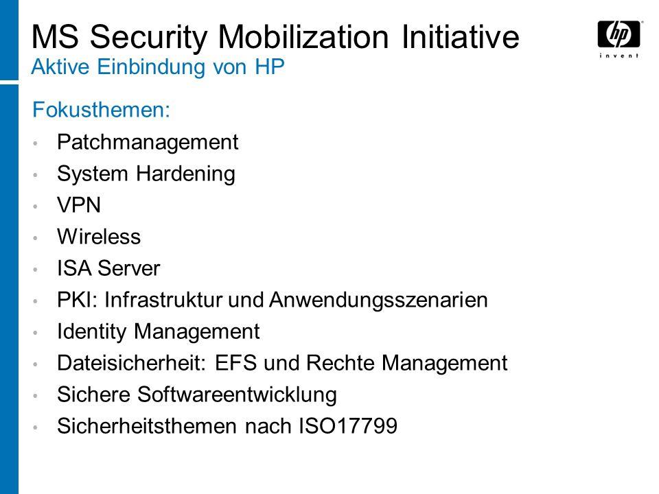 MS Security Mobilization Initiative Aktive Einbindung von HP Fokusthemen: Patchmanagement System Hardening VPN Wireless ISA Server PKI: Infrastruktur und Anwendungsszenarien Identity Management Dateisicherheit: EFS und Rechte Management Sichere Softwareentwicklung Sicherheitsthemen nach ISO17799