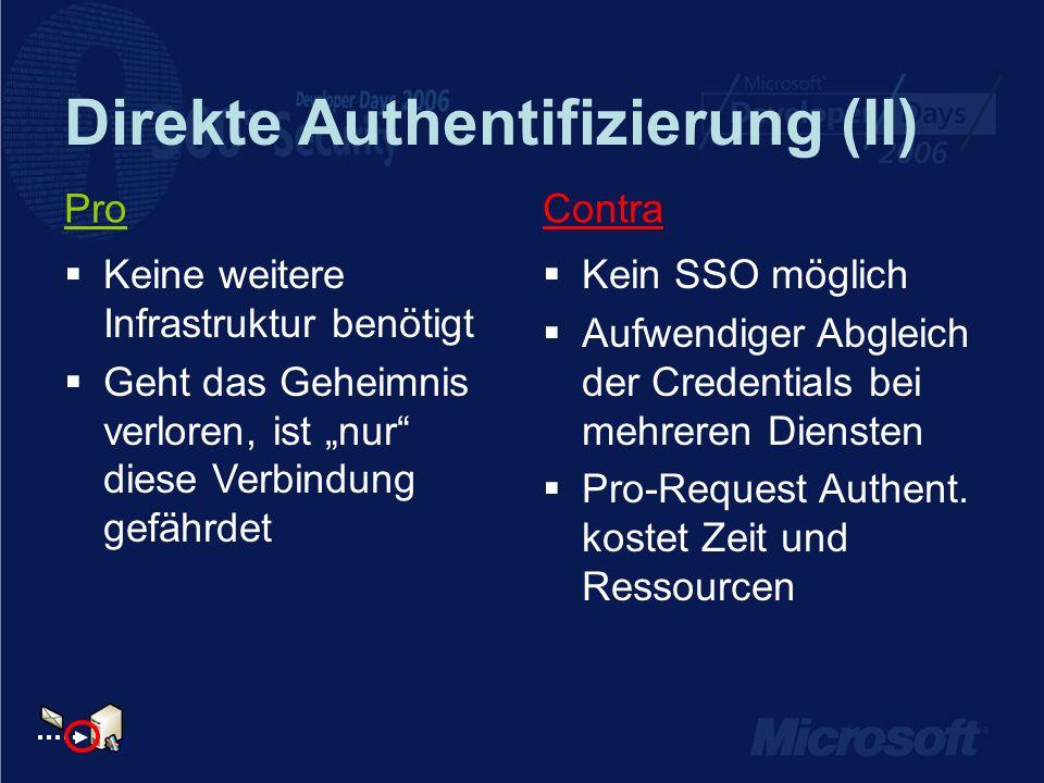 Direkte Authentifizierung (II) ContraPro Kein SSO möglich Aufwendiger Abgleich der Credentials bei mehreren Diensten Pro-Request Authent. kostet Zeit