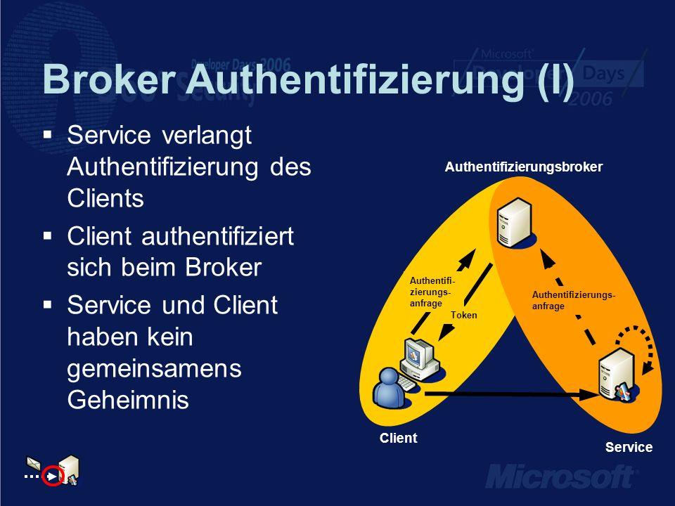 Broker Authentifizierung (I) Service verlangt Authentifizierung des Clients Client authentifiziert sich beim Broker Service und Client haben kein geme