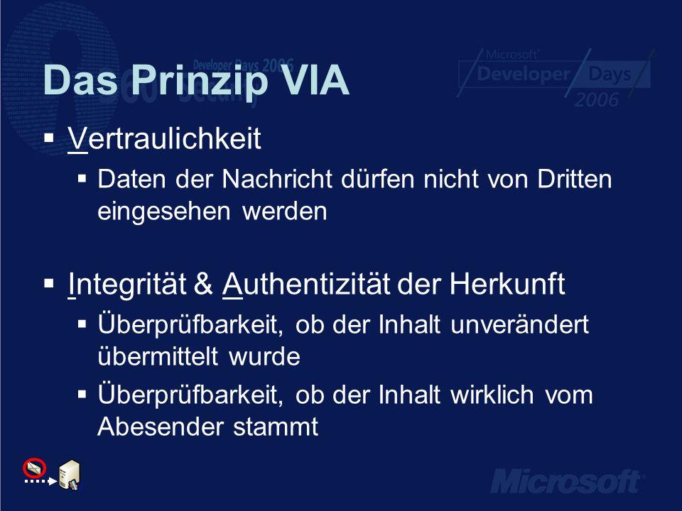 Das Prinzip VIA Vertraulichkeit Daten der Nachricht dürfen nicht von Dritten eingesehen werden Integrität & Authentizität der Herkunft Überprüfbarkeit