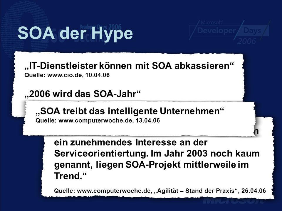 SOA der Hype In Architekturfragen zeigen die Unternehmen ein zunehmendes Interesse an der Serviceorientiertung. Im Jahr 2003 noch kaum genannt, liegen